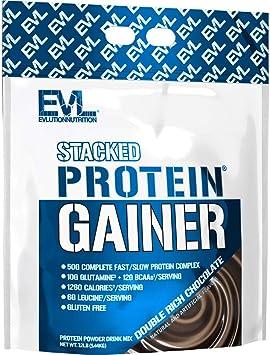 Evlution Nutrition Stacked Protein Gainer Polvo de Proteína con 50 Gramos de Proteína, 12 Gramos de BCAA y 10 Gramos of Glutamina (Chocolate, 5,45 kg)