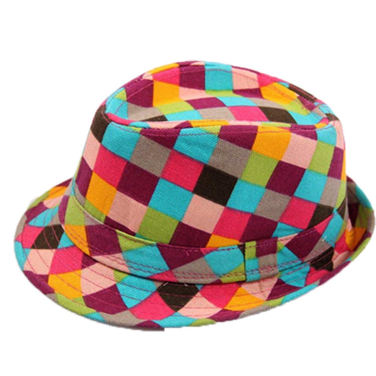 Aivtalk Little Boys Girls Cotton Plaid Billycock Fedora Beach Outing Sun Hat