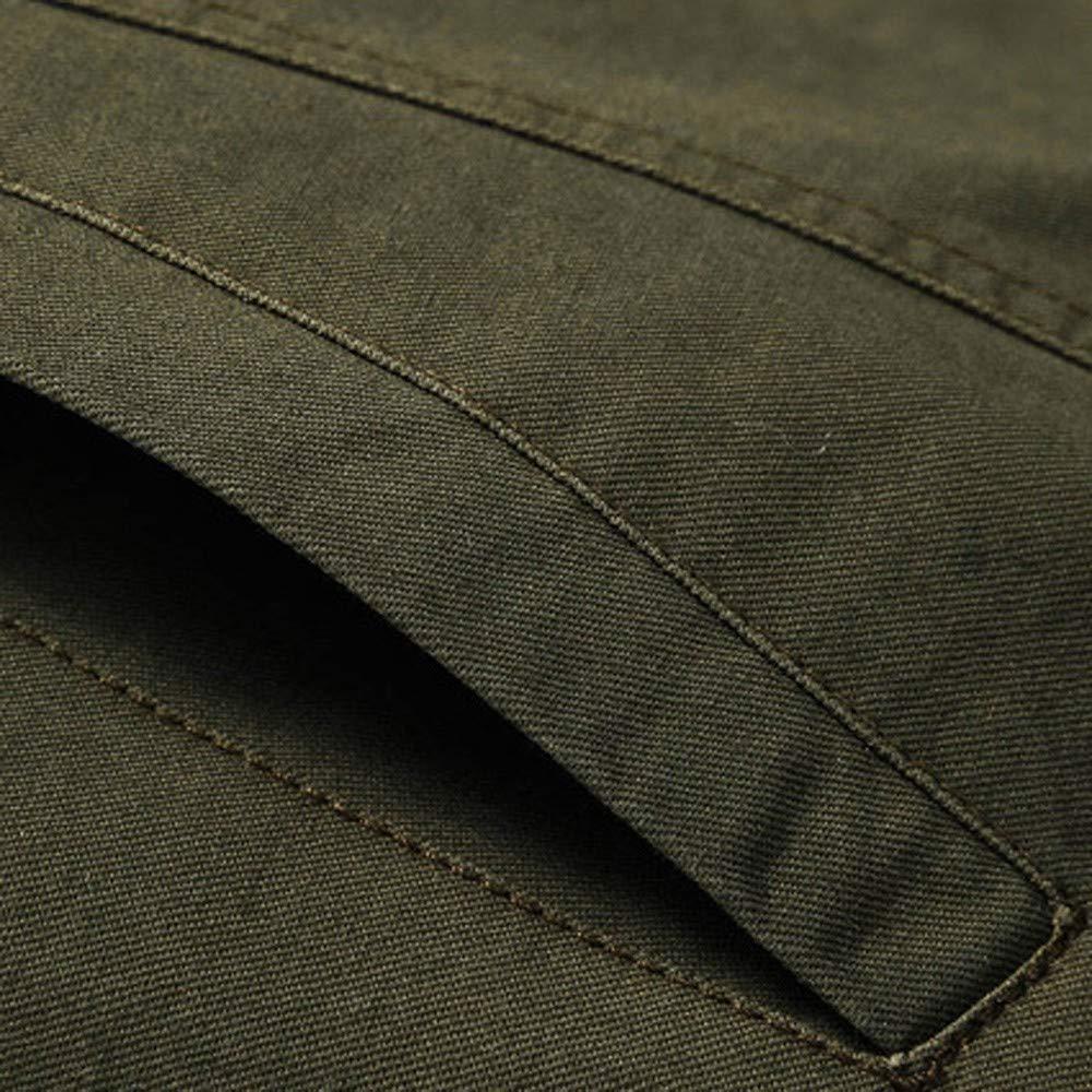 Mosstars Extra Large Cappotto Uomo Elegante Giacca in Cotone Colletto Militare Multi Tasche Uomo Manica Lunga Cappotti Giacchetto Giubbotto Outwear Tops M-6XL