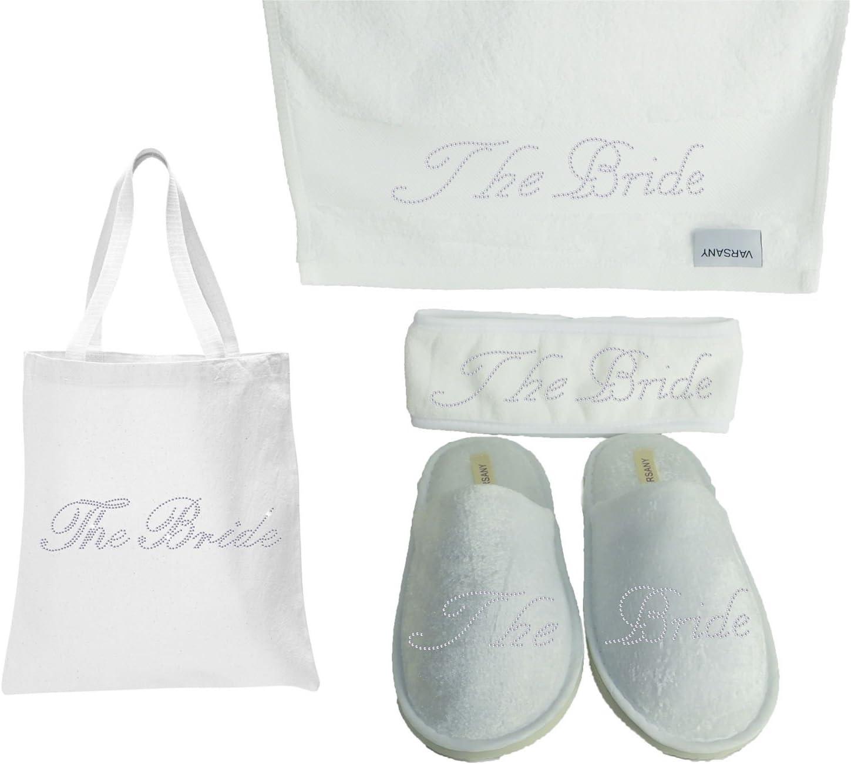 Kit de regalo de despedida de soltera o luna de miel para novia de Varsany (4), incluye bolso, zapatillas de spa, toallas de mano y diadema, decoración con diamantes de imitación