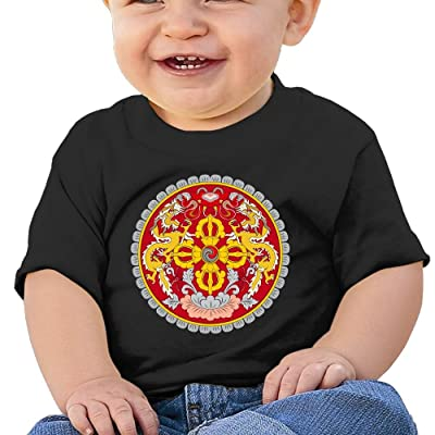 Zuwnqsw Baby Coat of Arms of Bhutan Unisex Infants Crew Neck Short Sleeve Tee Black