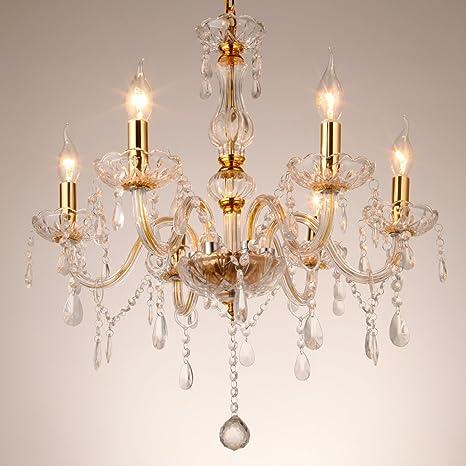 TryESeller Lujoso Araña de 6 brazos E14 Colgante Lámpara Vaso de cristal Lámpara de techo