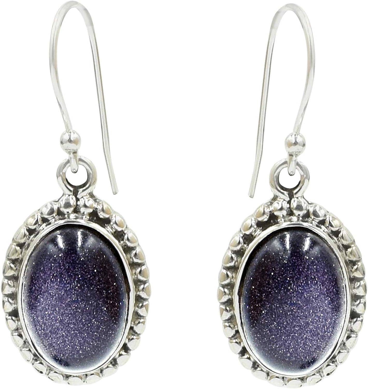 Silvesto India 925 plata de ley natural azul piedra arenisca colgante pendiente gota para mujer
