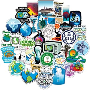 Earth Stickers Global Warming Stickers Climate Change Stickers Pack 50 Pcs Environmental Protection Decals for Water Bottle Hydro Flask Laptop Ipad Car Luggage