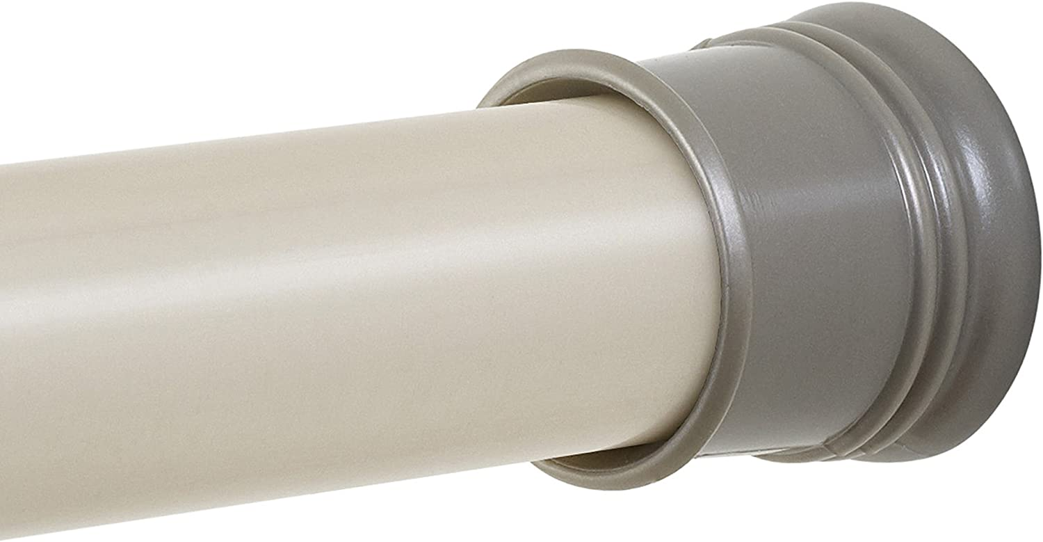 Zenna Home Adjustable Tension Shower Curtain Rod, 44 to 72 Inches, Brushed Nickel