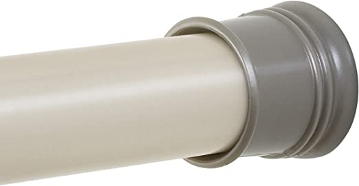 Brushed Nickel Zenna Home Adjustable Tension Shower Curtain Rod 43 to 72-Inch