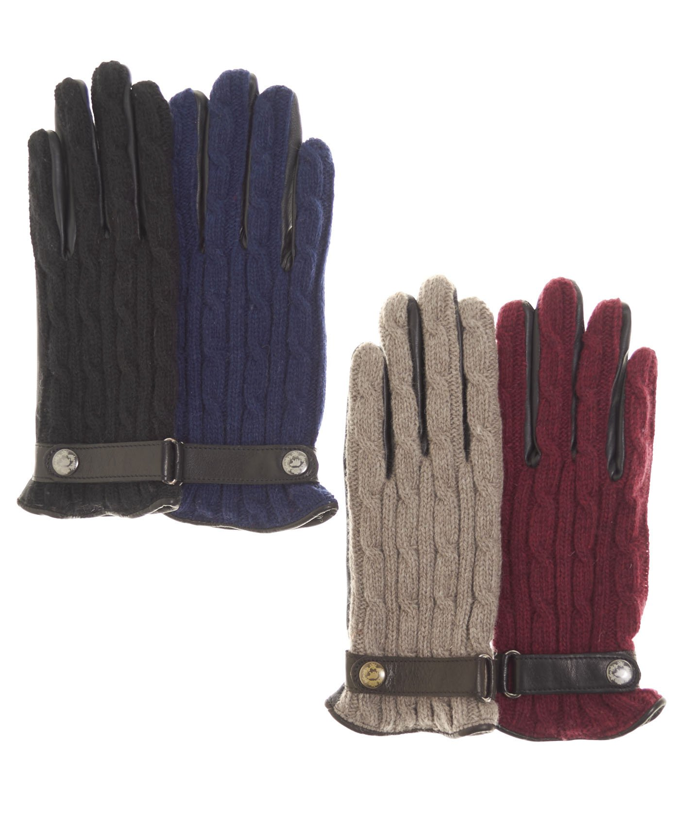 Fratelli Orsini Women's Italian Cable Knit Cashmere and Leather Winter Gloves Size 6 1/2 Color Black