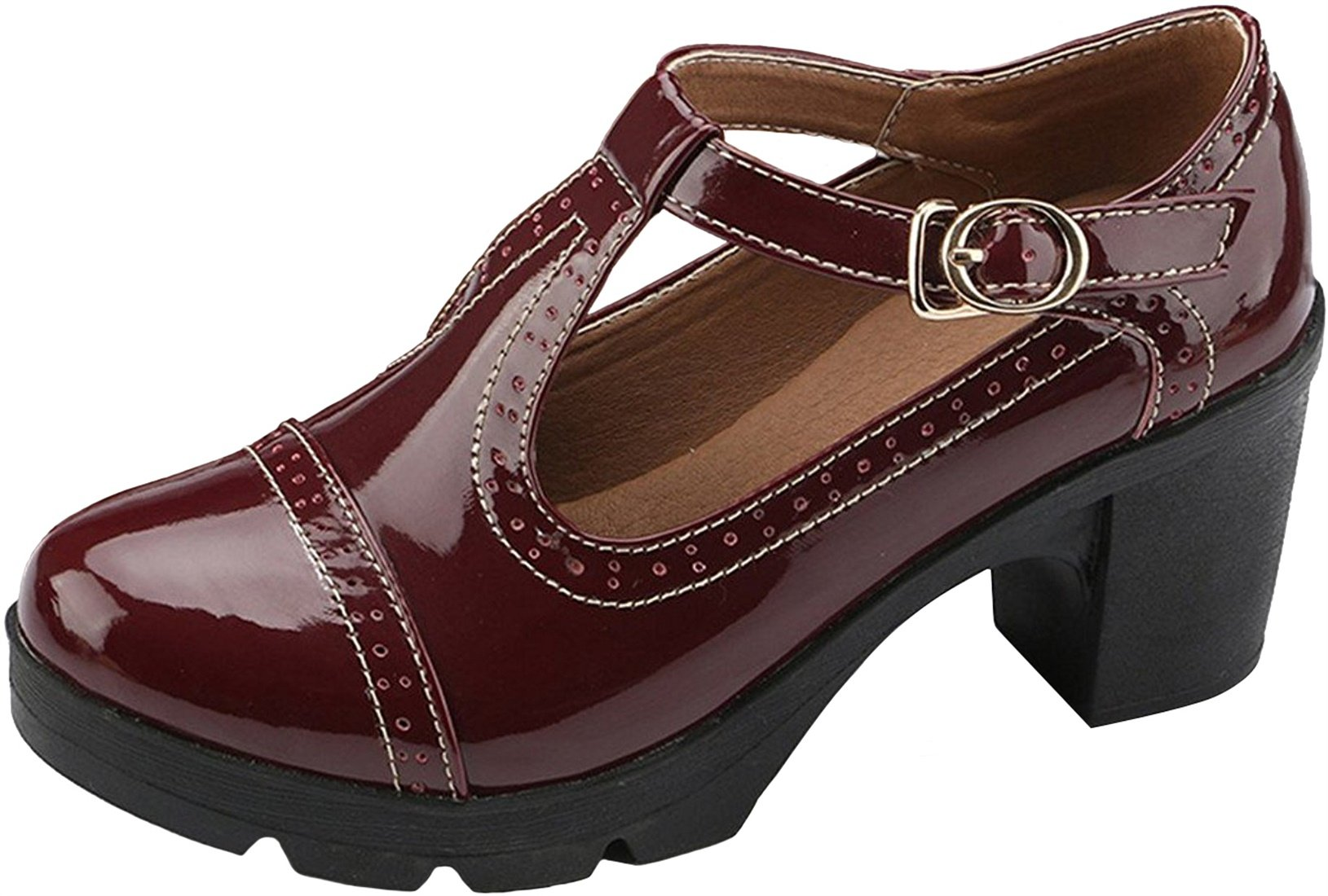 PPXID Women's British Style T-Bar Platform Heeled Oxford Shoes Work Shoes-Wine Red 7 US Size