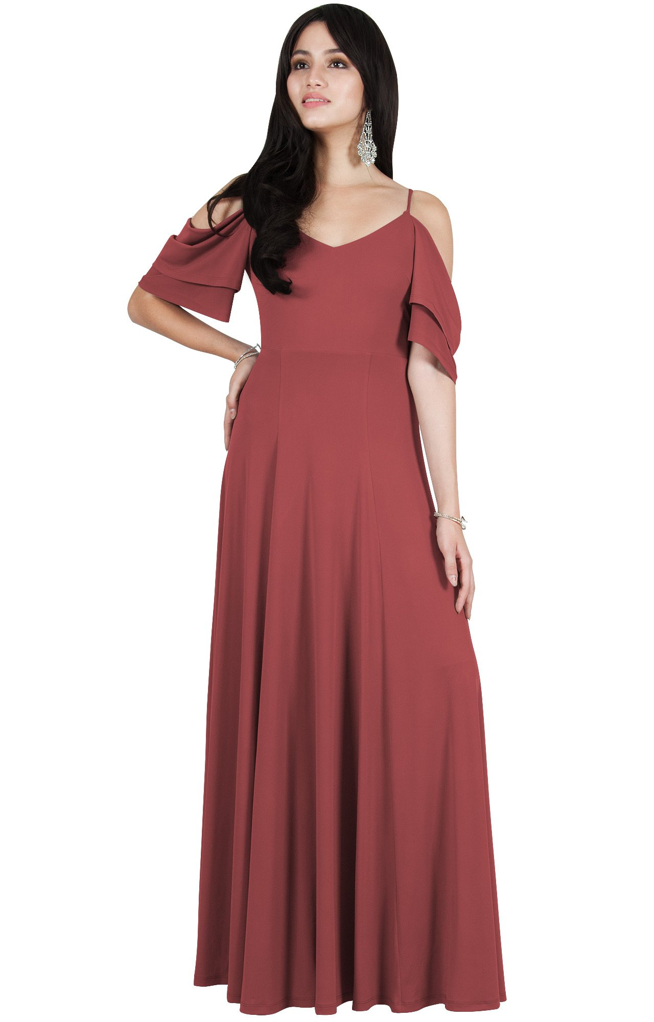 e02df817f653 Viris Zamara Petite Womens Long V-Neck Short Sleeve Flowy Sexy Cold  Shoulder Evening Cute Formal Cocktail Party Bridesmaid Wedding Party Dressy Gown  Gowns ...