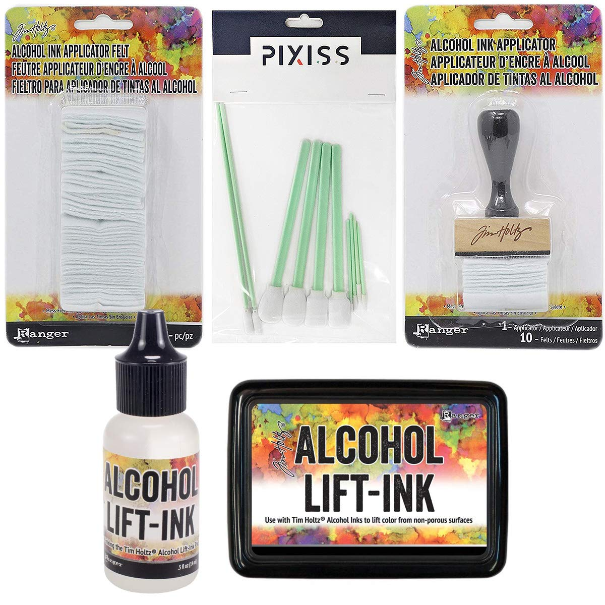 Ranger Tim Holtz Alcohol Ink Lift Ink Bundle, Alcohol Ink Applicator and 50pc Replacement Felt Pack, Lift-Ink Pad, 0.5-Ounce Alcohol Lift-Ink Reinker, 10x Pixiss Alcohol Ink Blending Tools