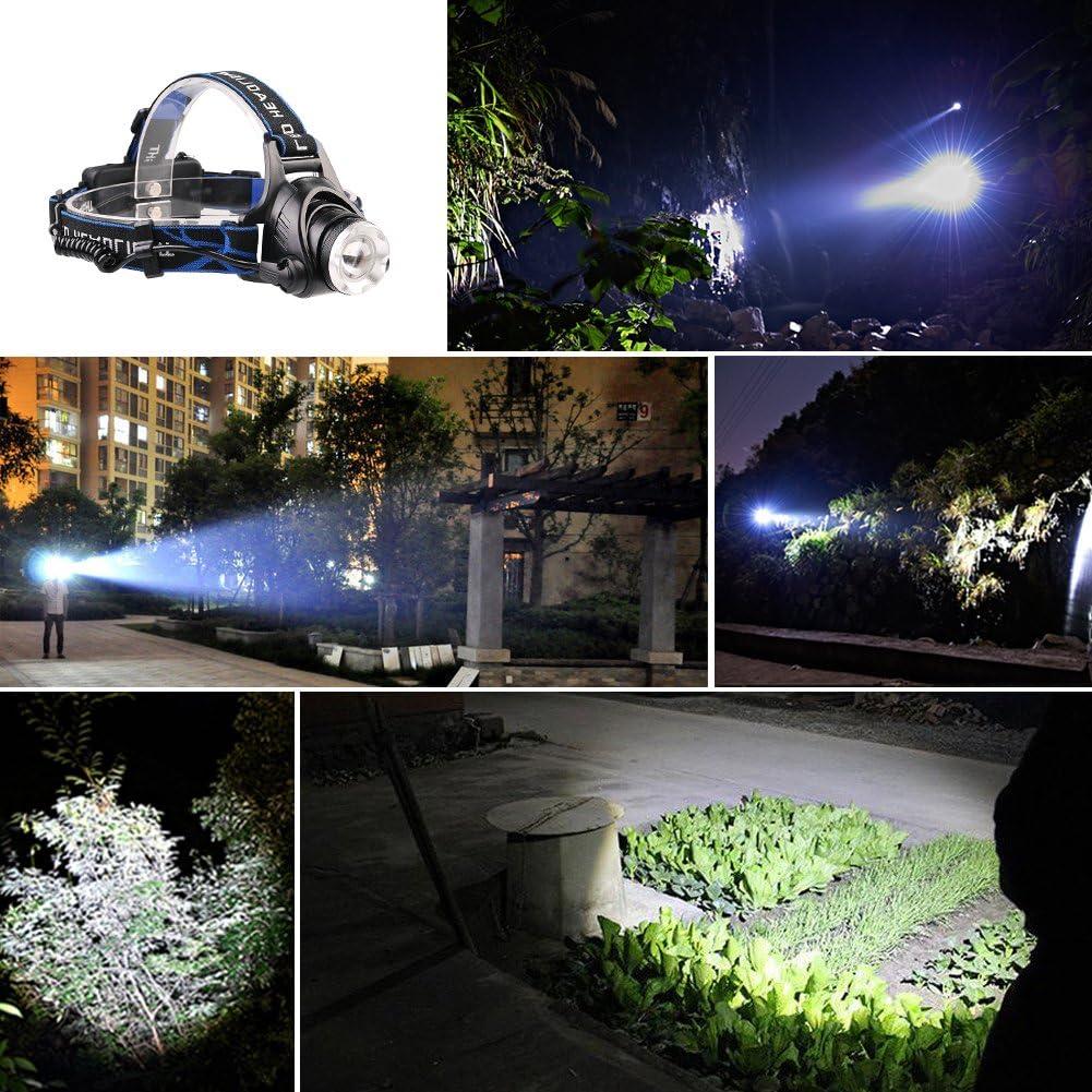 Choix Lampe frontale /étanche avec zoom 3/modes 1000/Lumens Lumi/ère N lampe frontale avec piles rechargeables mains libres pour le cyclisme le camping la chasse de Course /à Pied Temps Pluvieux