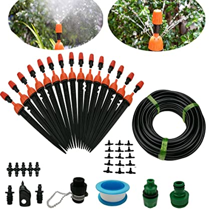 Amazon Com Drip Irrigation System Diy 50ft Micro Dripper Sprinkler