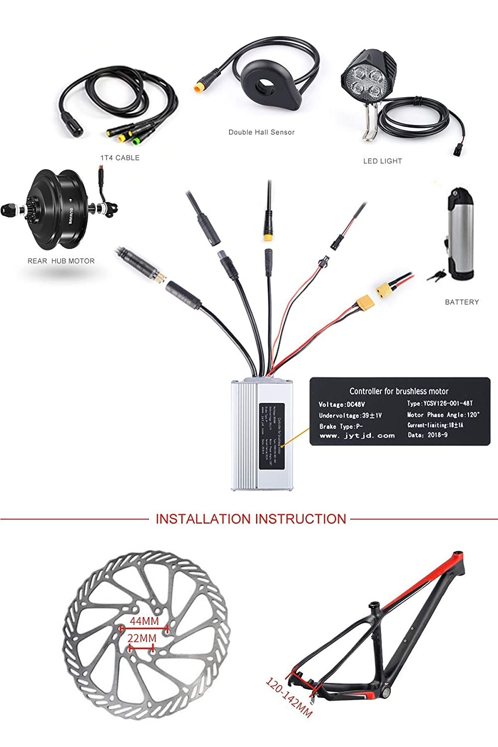 "Amazon.com : BAFANG 500W 36V/48V Hub Motor Electric Bike Conversion Kit for  Kinds of Bicycle 20"" 26"" 27.5"" 700C Rear Wheel : Sports & Outdoors"