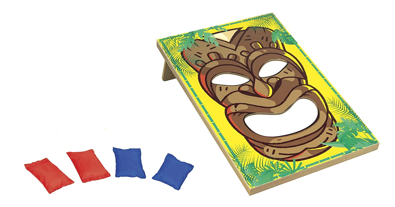 Bean bag target garden game by Freaky Tiki. Bean bag toss game Giant Tiki Toss Cornhole set