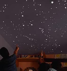 DIY Decoraci/ón de la Habitaci/ón Para Chico Ni/ña Beb/é Luna y Estrellas Fluorescente Decoraci/ón de Pared para Dormitorio de Ni/ños Casa Interior Mural GOTONE 432 Piezas Luminoso Pegatinas de Pared