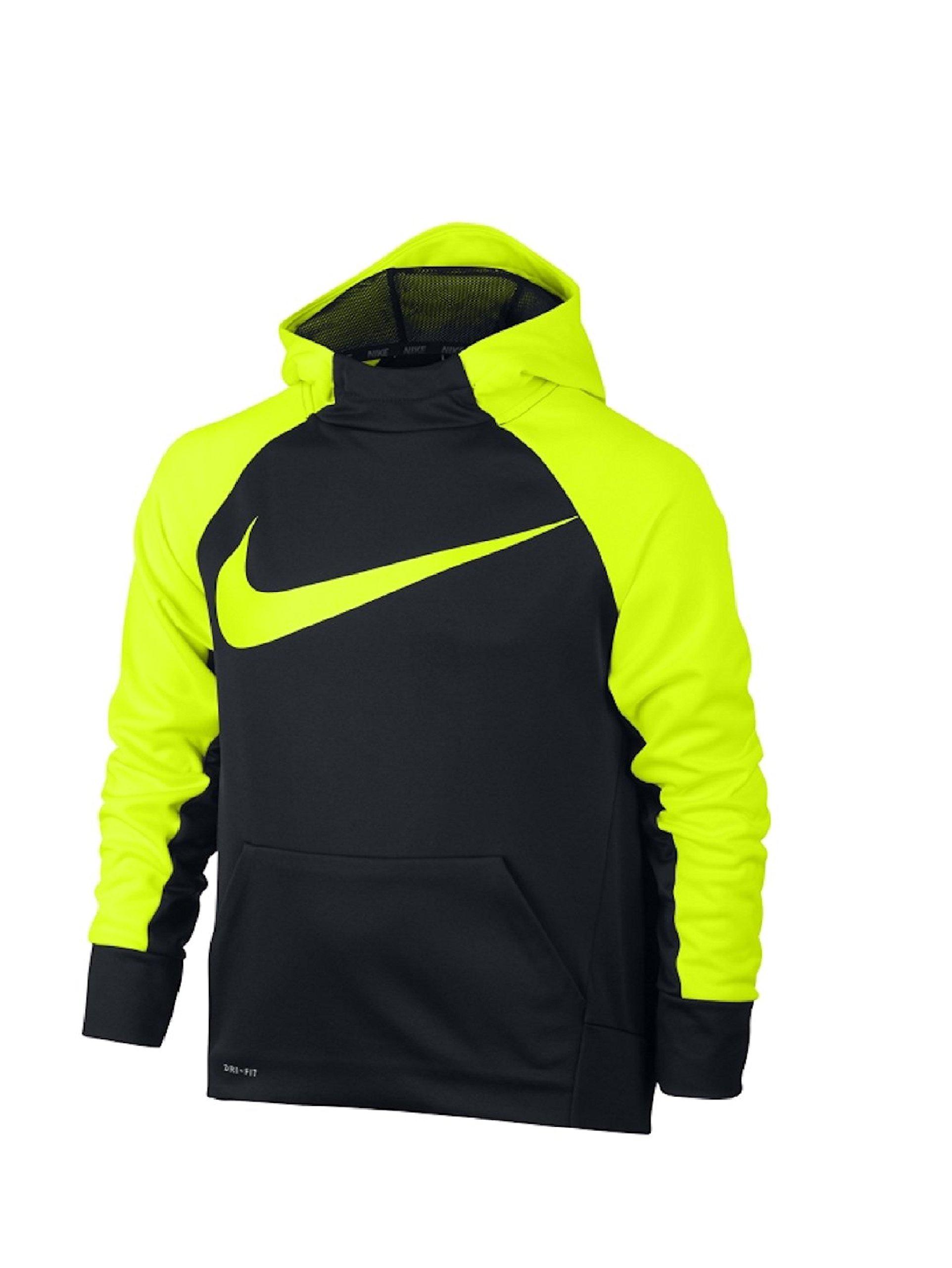 Nike Boy's Therma Training Hoodie Black/Volt Size Medium