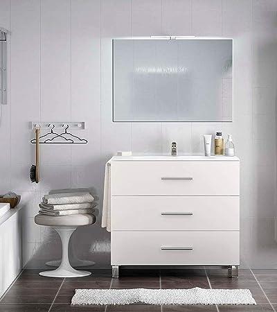 Mueble de baño con Grifo - Lavabo - Espejo - Aplique Led - Toallero,El Mueble se envia montado, solo