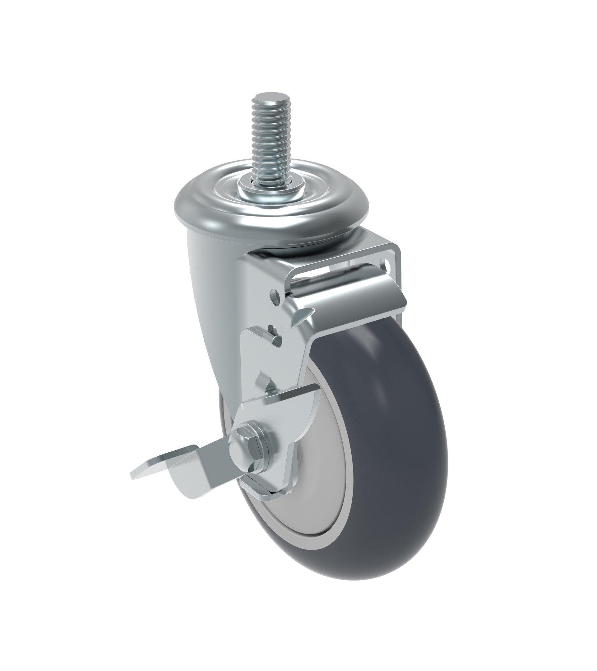 Schioppa GLEHF 412 TBE SL L12 Series 4'' x 1-1/4'' Diameter Swivel Caster with Wheel Lock Brake, Non-Marking Thermoplastic Rubber Precision Ball Bearing Wheel, 12 mm Diameter x 40 mm Length Threaded Stem, 220 lb