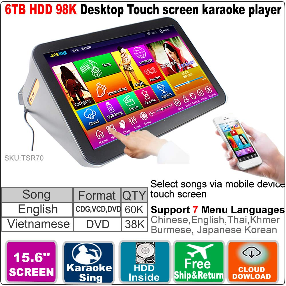 6TB HDD,98K Vietnamese+ English Songs, 15.6'' Touch Screen Karaoke Player, Multilingual Menu and Fast Search.