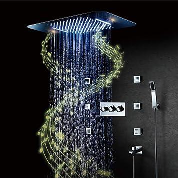 Conjunto de Ducha,RGB Música LED Caliente y fría Sistema de Ducha ...