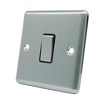 Light switch 1 gang satin chrome square black insert metal light switch 1 gang satin chrome square black insert metal rocker switch sciox Gallery