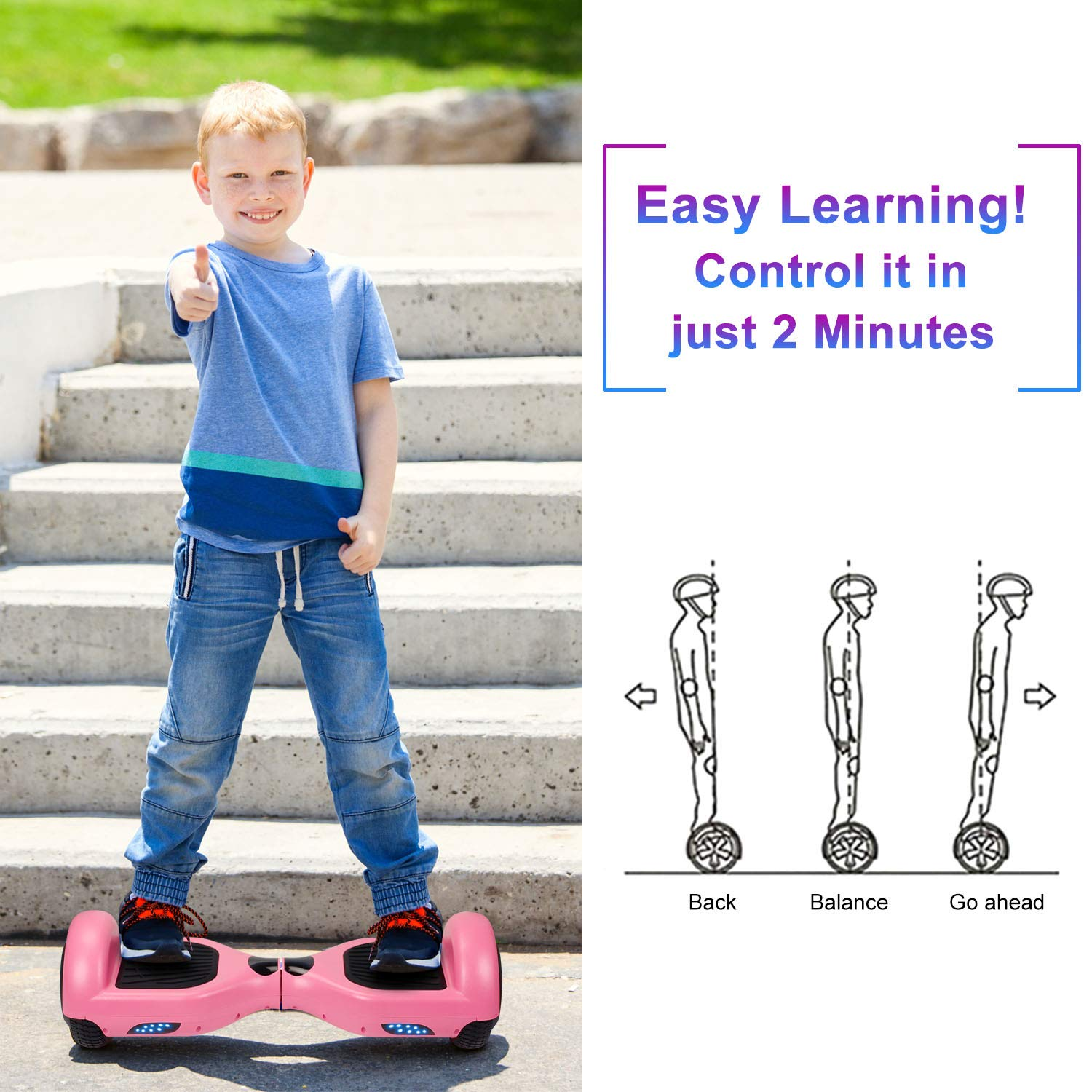 SISIGAD Hoverboard Self Balancing Scooter 6.5'' Two-Wheel Self Balancing Hoverboard with LED Lights Electric Scooter for Adult Kids Gift UL 2272 Certified - Pink by SISIGAD (Image #6)