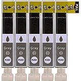 5 Druckerpatronen im Set; kompatibel zu CLI-526GY Grau mit CHIP und Füllstandanzeige; Patronen der Marke D&C; diese Tintenpatronen sind geeignet für folgende Canon Drucker Pixma MG6100 MG6150 MG6200 MG6250 MG8100 MG8150 MG8200 MG8250