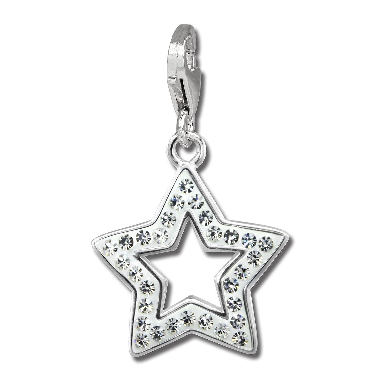 SilberDream scintillement bijoux tch/èques cristaux Preciosa Argent 925//1000 scintillement Charms Charm /étoile blanc GSC556W Femme