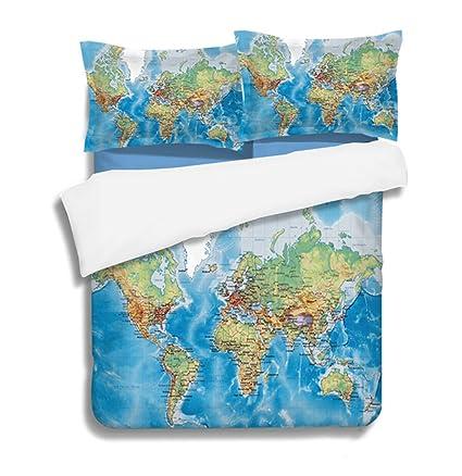 World Map Sheet Set.Amazon Com Home Dcs 3d World Map Bedding Duvet Cover Sheet Set 3
