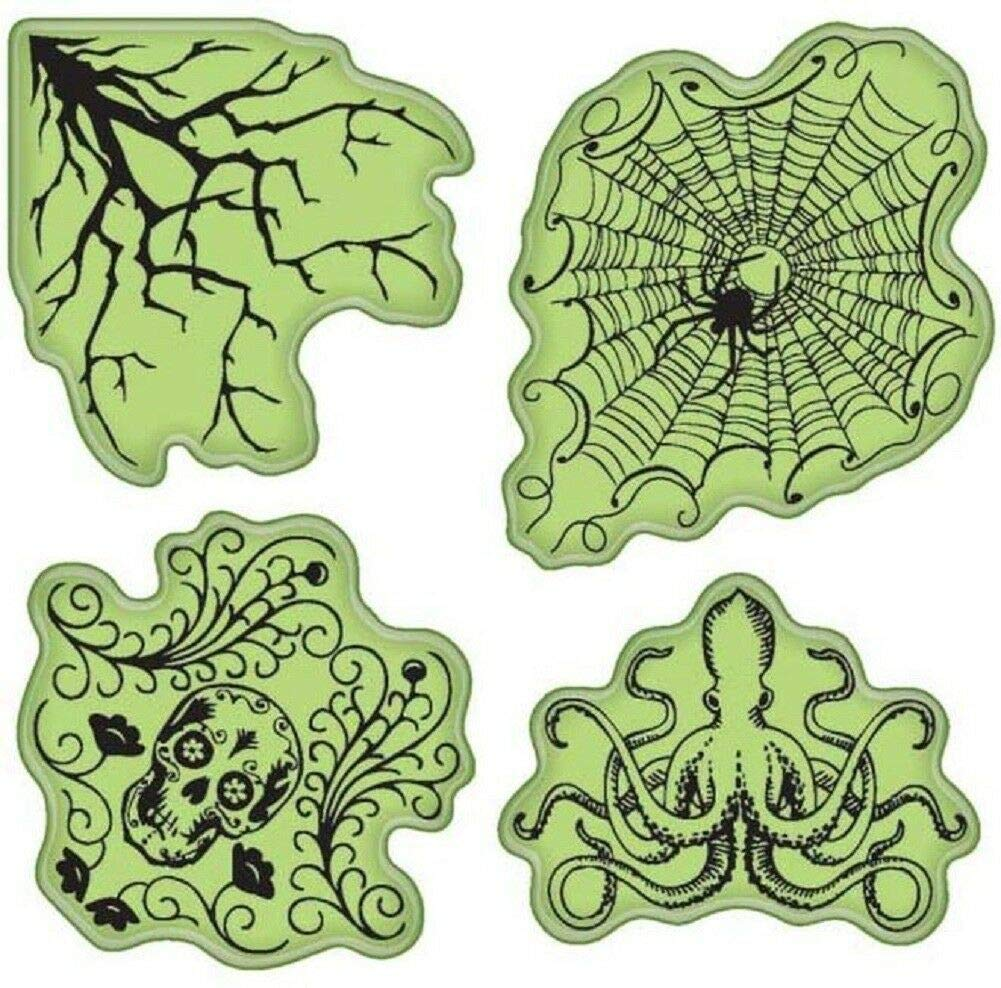 ShopForAllYou Stamping /& Embossing Skull Spider Halloween Haunts Inspired Images Set Cling Rubber Stamp