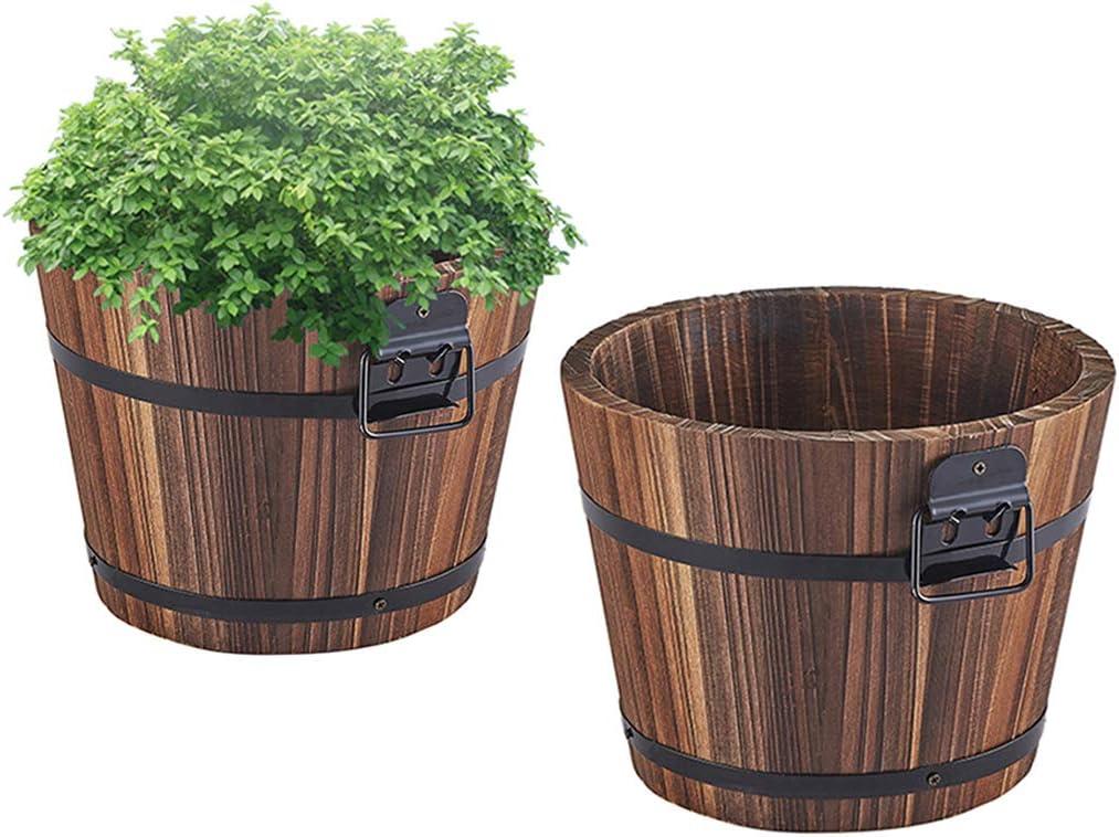 Mini Wooden Round Barrel Planter Succulent Flower Pot Office Home Desktop Plant