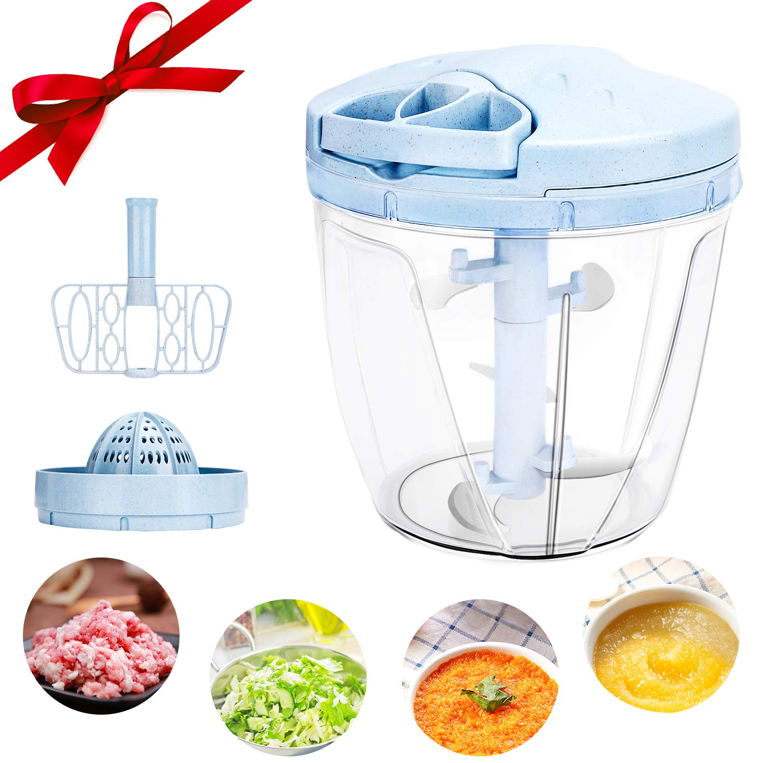 Jovego Manual Food Chopper, 900 ML Hand Chopper Pull Food Processor with Manual Juicer and Mixer,Onion Chopper with 5…