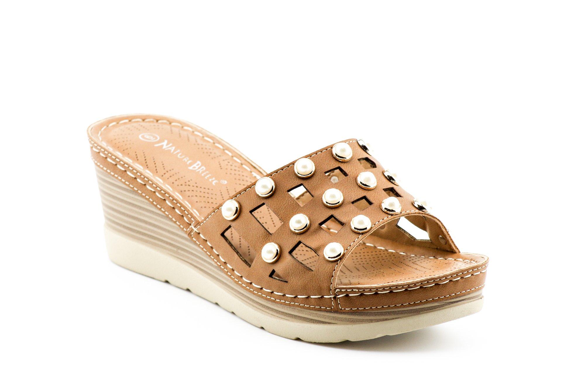 CALICO KIKI XIA-CK03 Women's Comfort Open Toe Slip On Wedge Sandal Platform Shoes (9 US Camel)