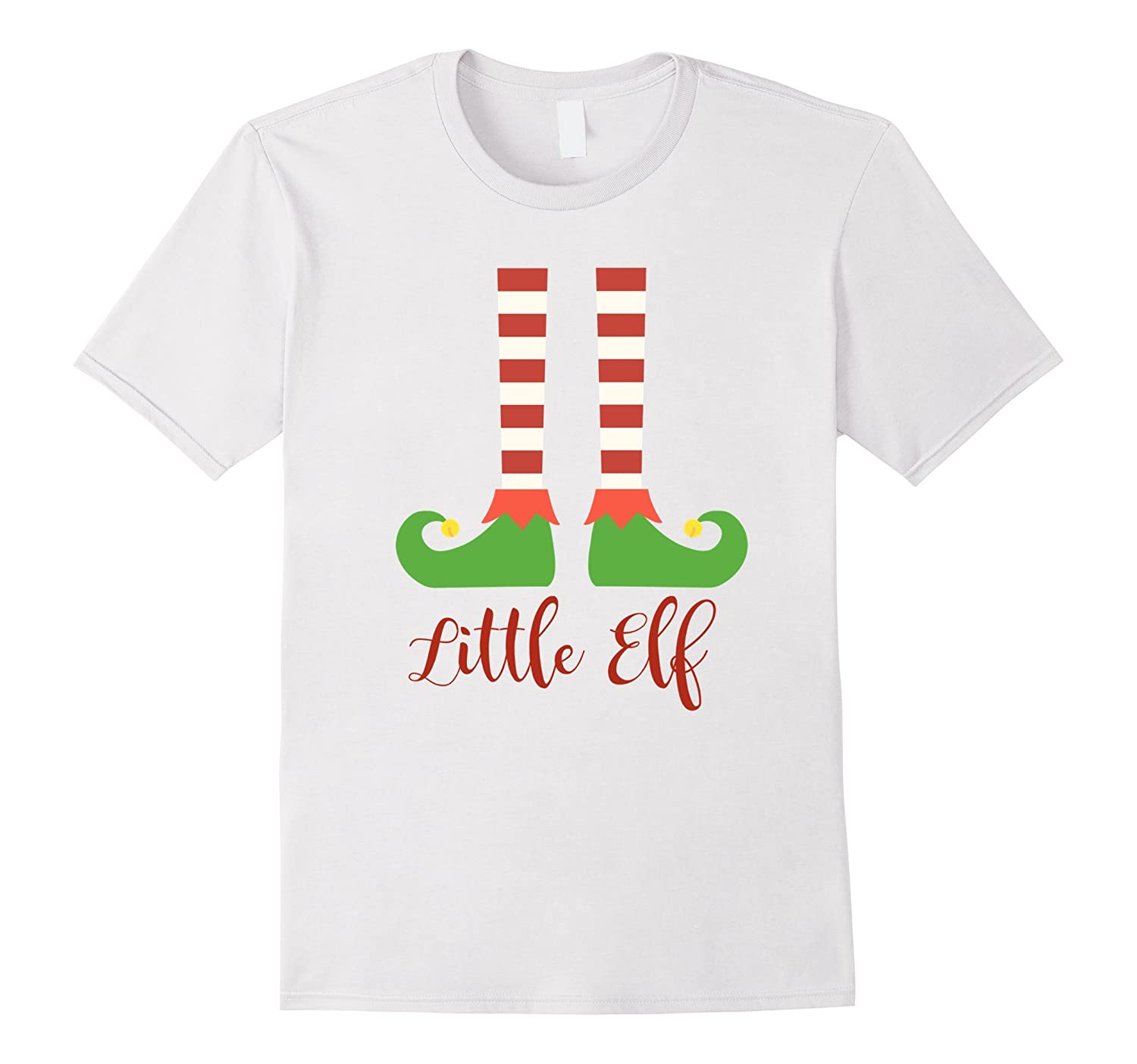 Little Elf Matching Christmas Family T Shirt in Red Script-FL