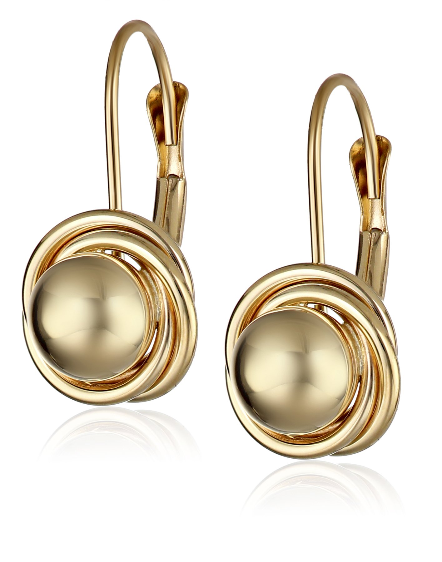 14k Yellow Gold Ball with Three Ring Earrings (6mm)