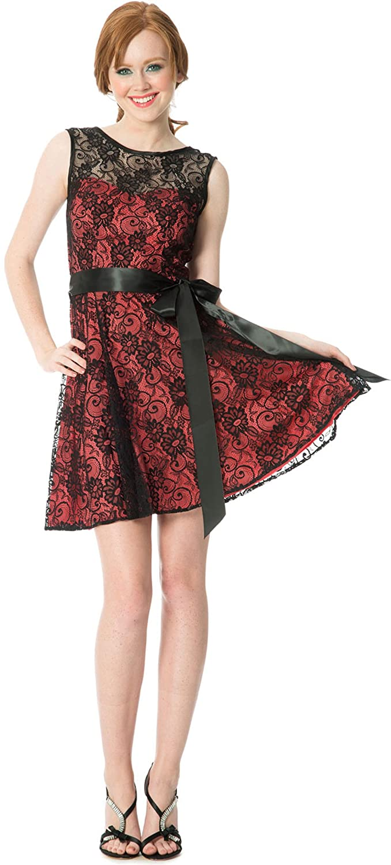 Amazon.com: Lace Semi Formal Dress, L, Black-Coral: Clothing