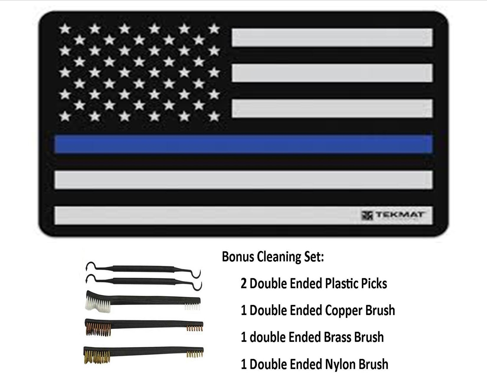 TekMat 11-Inch X 17-Inch Handgun Cleaning Mat with Police Thin Blue Line Bonus 5 oc Gun Cleaning Brush & Pick Set by EDOG (Image #1)