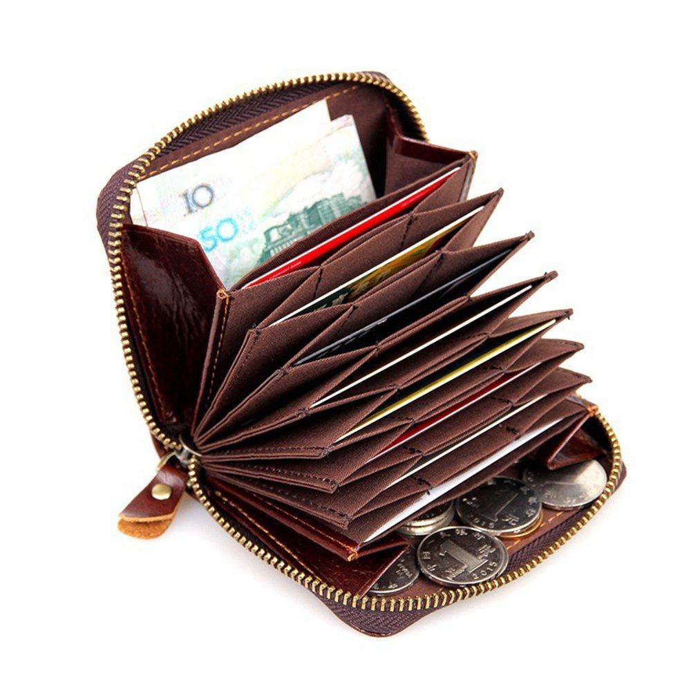 シンソフトレザーアコーディオンスタイル本革カードケース財布with Zipper 8117 B01MXY279A ブラウン ブラウン