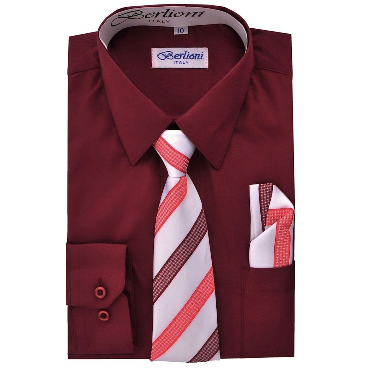 Burgundy Boys Fashion Solid Dress Shirt Tie and Hanky Set