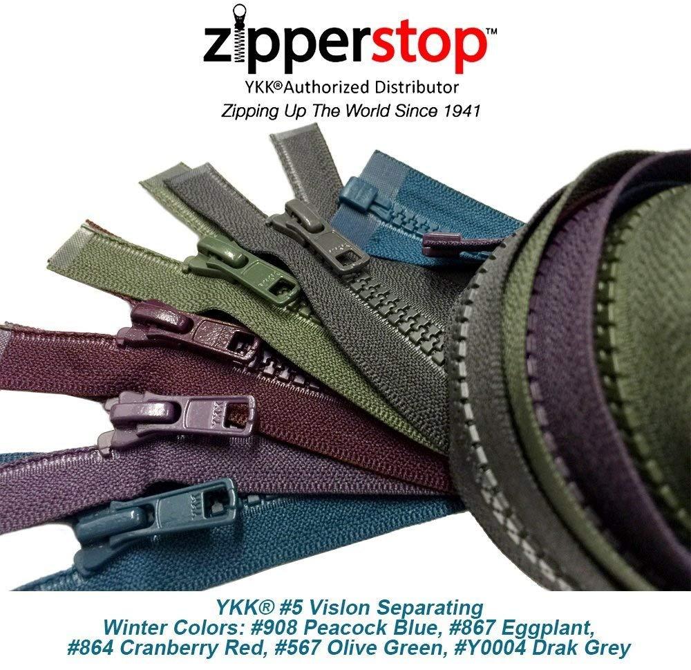 ZipperStop Wholesale YKK - Fashion Trends Zippers 36 Inch Sport YKK #5 Vislon Jacket Zipper (5 Assorted Colors) Medium Weight Molded Plastic - Separating (Winter) YKK®
