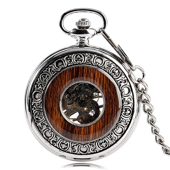 Reloj de bolsillo Mixi estilo Steampunk, de madera con números romanos, clá