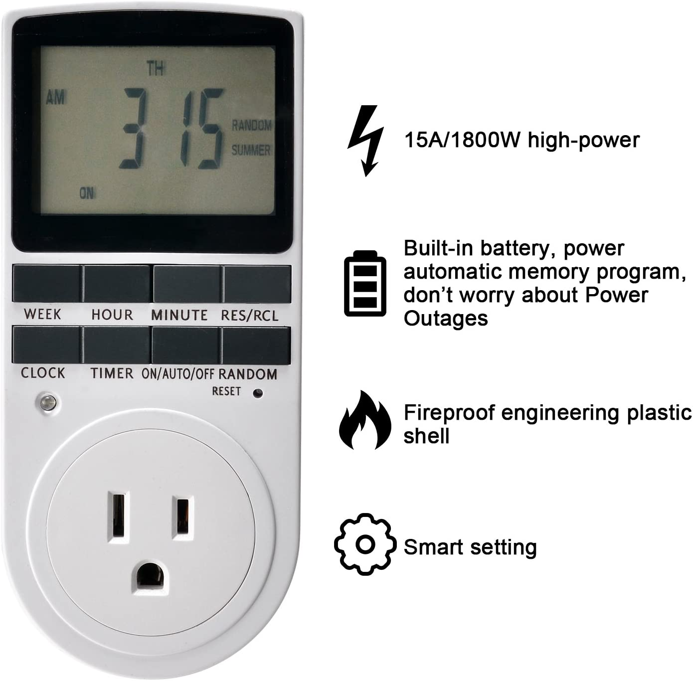 Timer Switch 2 Packs Built In Battery 120v 15a 1800w For Light Vacation Bathroom Fan Smart Control Plug In Socket Fitnate Digital Programmable 7 Day On Off Countdown Timer Switch Timers