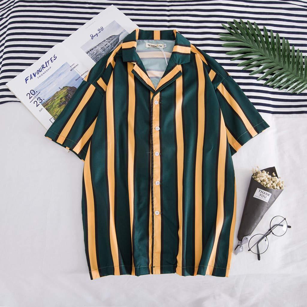 Palalibin Summer Fashion Personality Stitching Shirts Casual Stripes Short Sleeve Beach Tops Lapel Shirt