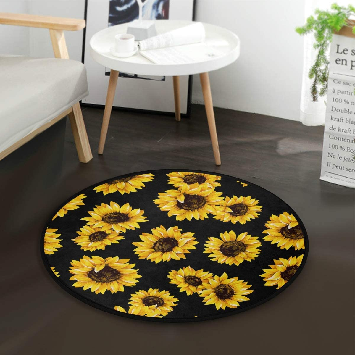 ALAZA Shabby Chic Floral Sunflower Area Rug Rugs Mat for Living Room Bedroom 3 x 3