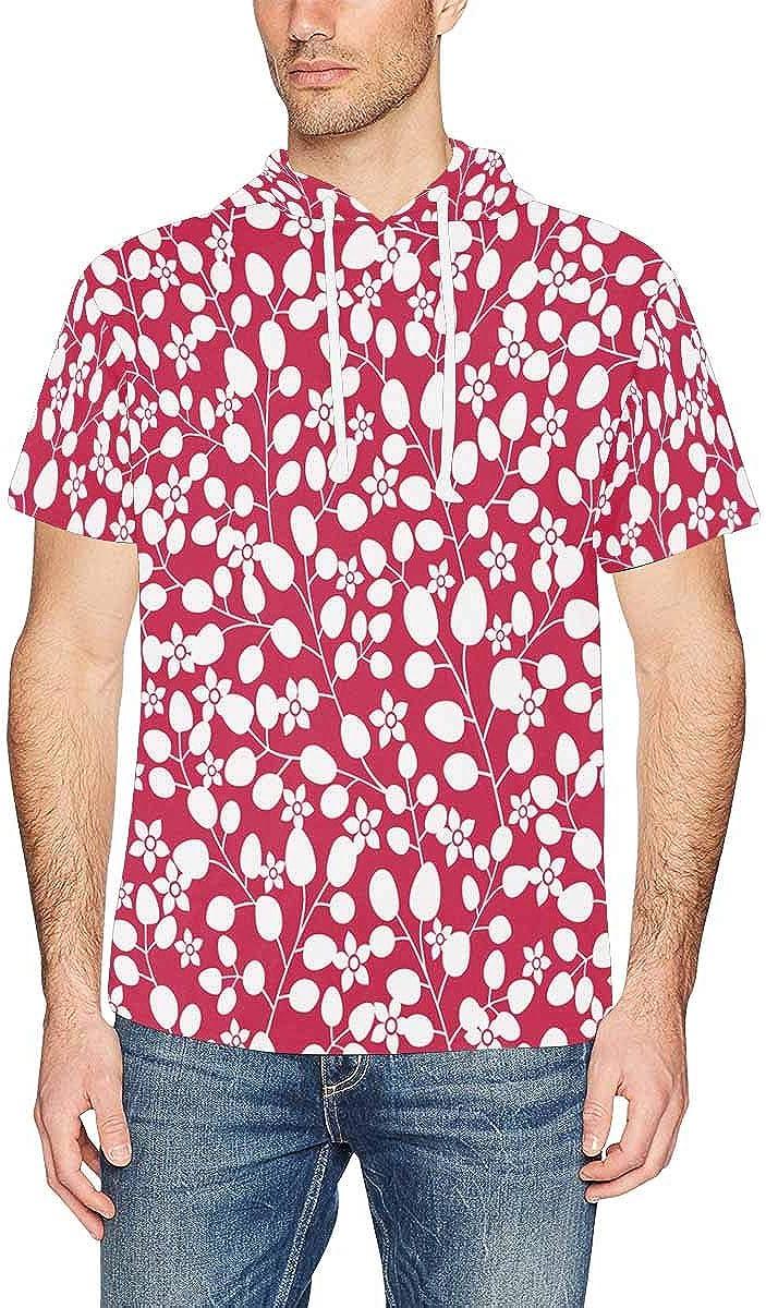 XS-2XL INTERESTPRINT Mens Hoodies Shirts Flowers Leaf Lightweight Short Sleeve Pullover Tops