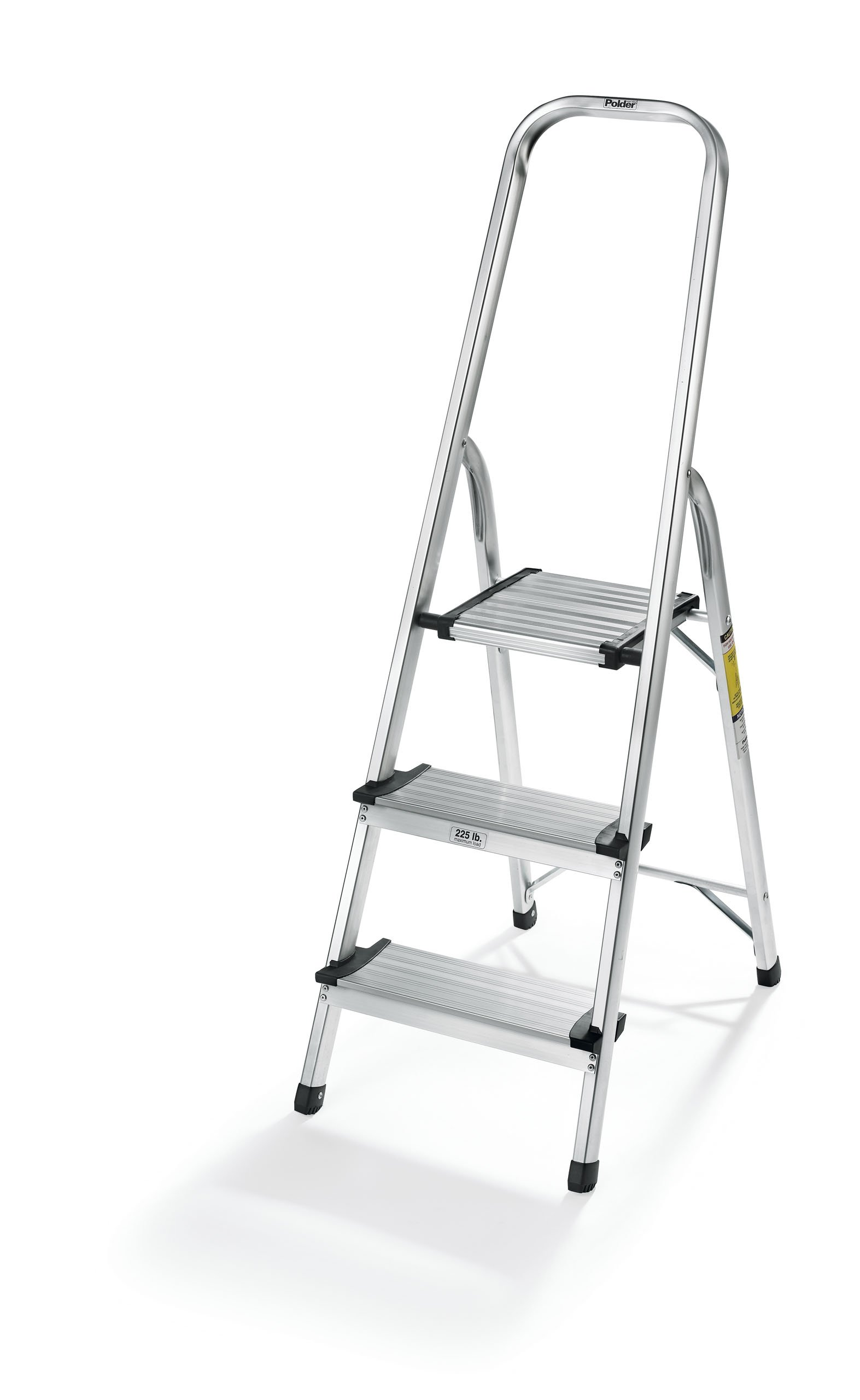 Polder LDR-3500RM Ultralight 3-Step Stool, 52.5'' Tall, 24.5'' Top Step, Aluminum