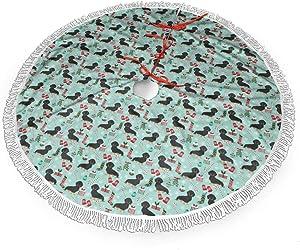 MSGUIDE Dachshund Dog Christmas Christmas Tree Skirt 48 Inch Large Halloween Xmas Tree Decor for Holiday Party Decor Christmas Decoration
