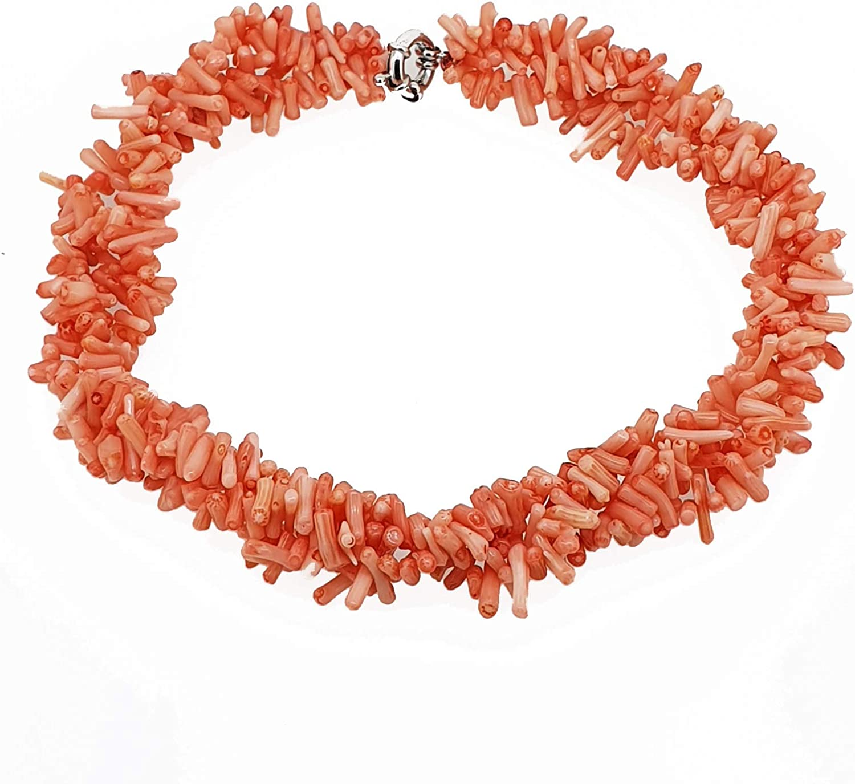 Multi-de Katy clemmans TreasureBay trenzado ovillo de naranja collar con colgante en forma Coral rama con cierre magnético longitud: 48 cm/48,26 cm - presentada en estuche detalle caja de regalo