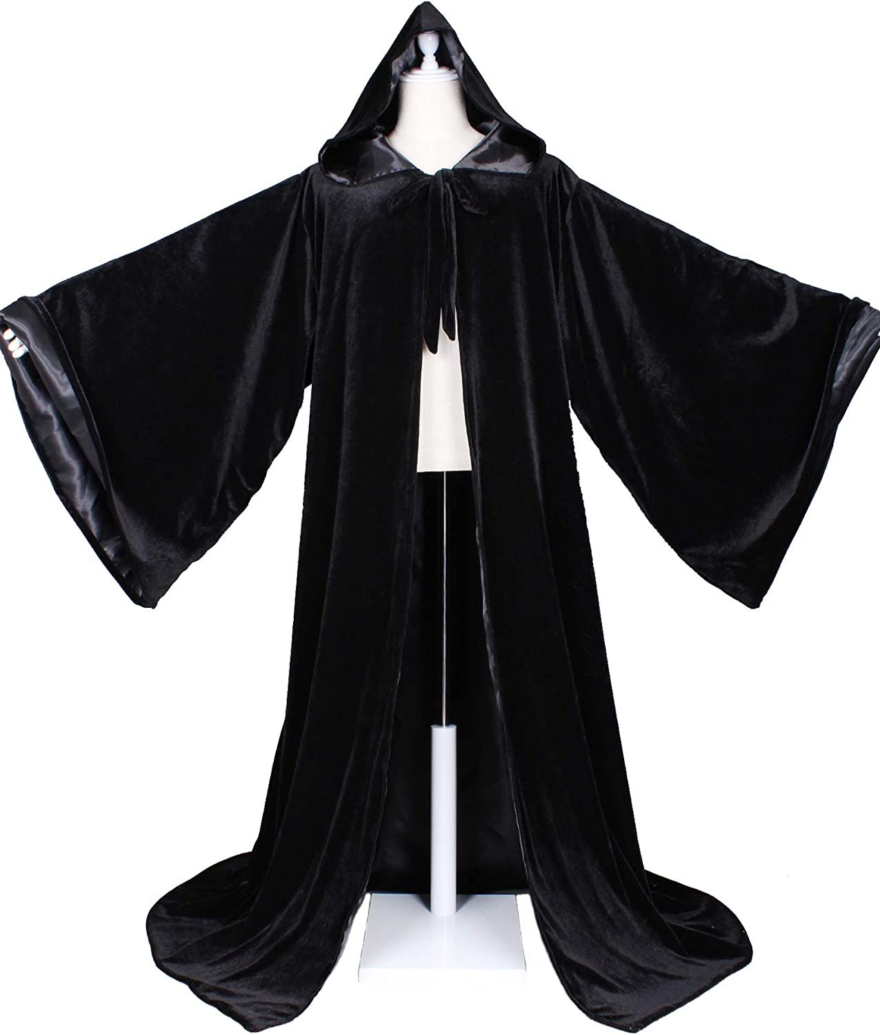 Amazon Com Luckymjmy Velvet Wizard Robe With Satin Lined Hood And Sleeves Black Clothing