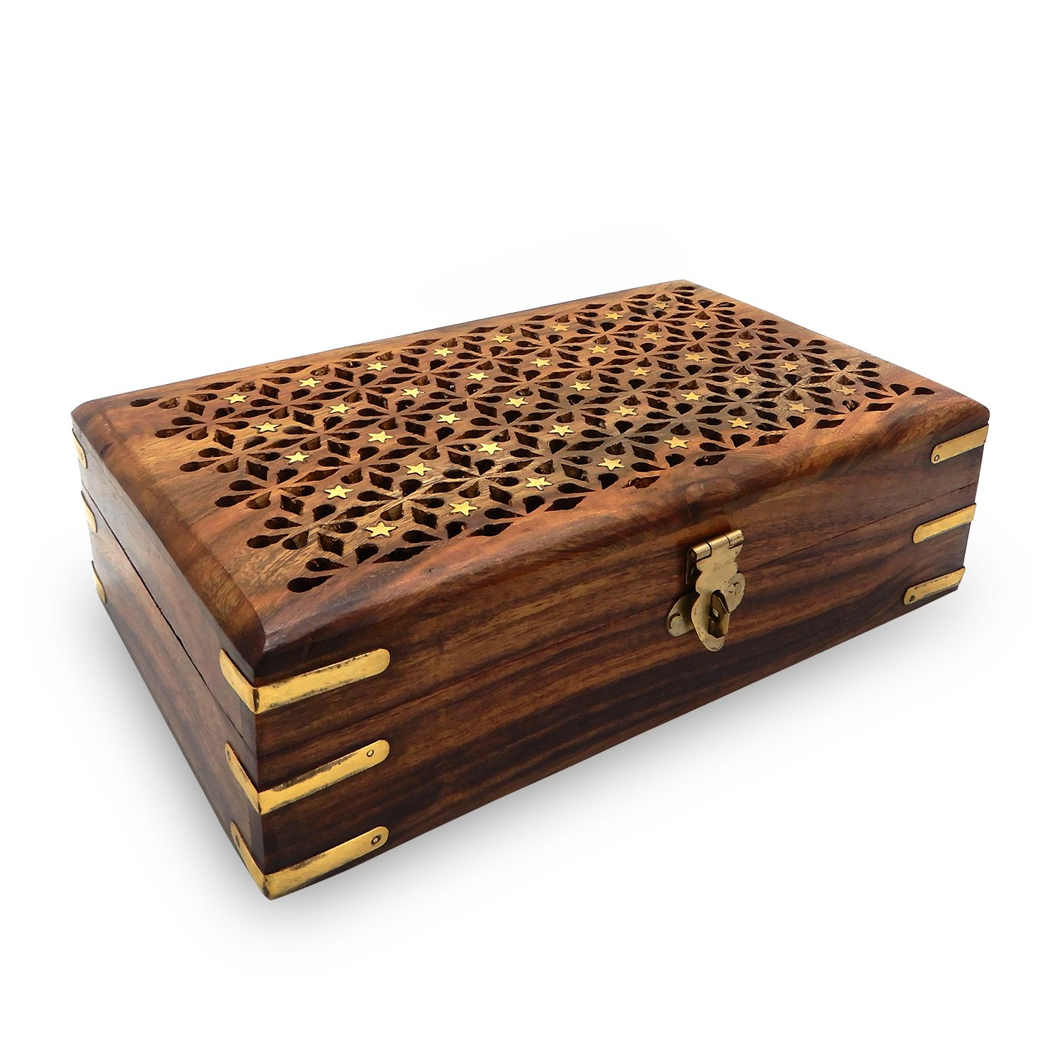IndiaBigShop Wooden Jewelry Box For Keepsake Organizer With Jali Design and Brass Inlay With Velvet Interior 8 Inch